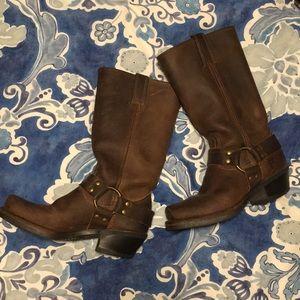 Frye women Harness rugged leather boot cognac 5.5